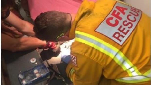 Bombeiros tentam liberar dedos de mina presos em ralo de banheira (Foto: Reprodução)
