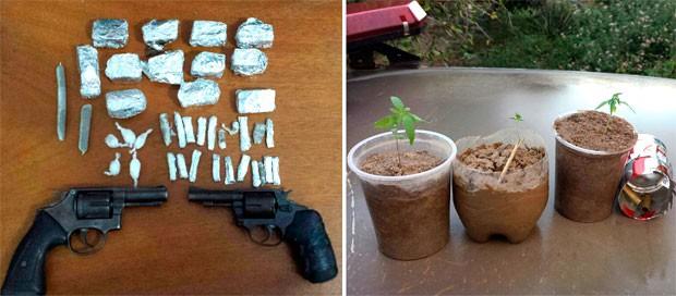 Armas, munições, drogas preparadas para consumo e três pés de maconha foram apreendidos com os suspeitos (Foto: Tenente da PM Daniel Costa/G1)
