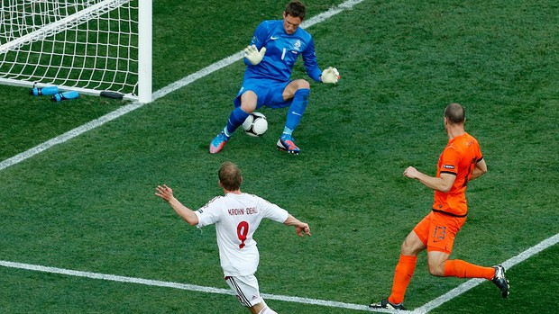 Michael Krohn-Dehli binamarca gol holanda eurocopa (Foto: Agência Reuters)