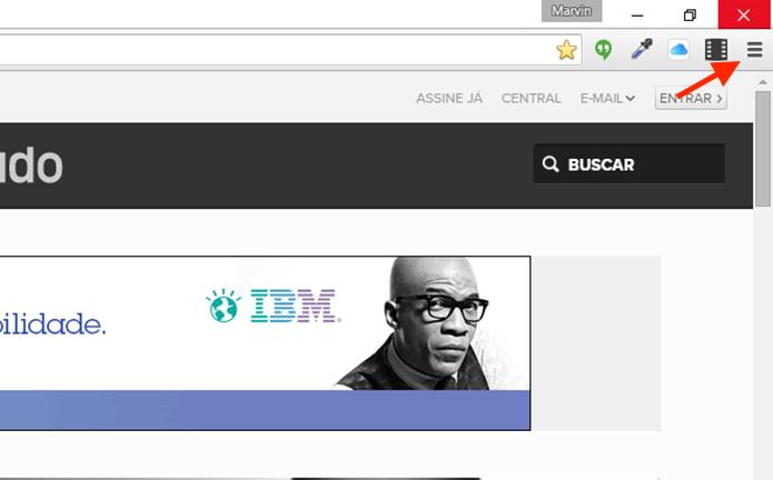Acessando as configurações do Google Chrome (Foto: Reprodução/Marvin Costa)