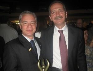 Bruno Negris, presidente do Banestes, e Aldo Rebelo, ministro dos Esportes (Foto: Divulgação/Edson Francisco)