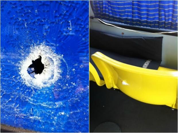 Tiros atingiram ônibus, mas ninguém estava no veículo (Foto: Vandré Fonseca/TV Amazonas)