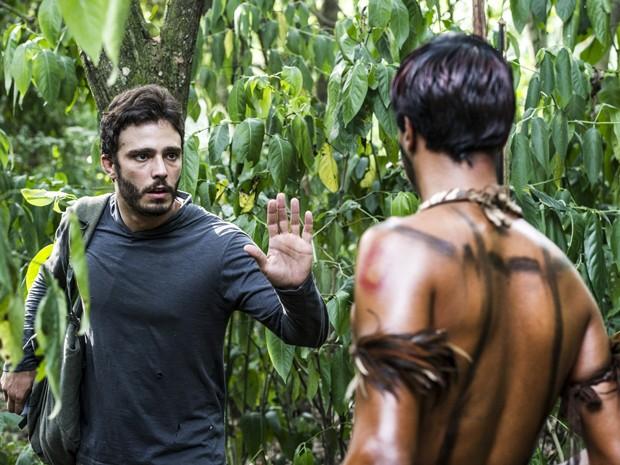 William encontra tribo indigena (Foto: Cynthia Salles/ TV Globo)