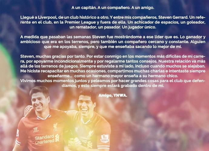 """BLOG: Suárez escreve homenagem a Gerrard e exalta: """"Capitão, companheiro e amigo"""""""