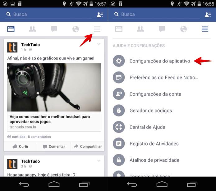 Acesse as configurações do aplicativo do Facebook (Foto: Reprodução/Helito Bijora)