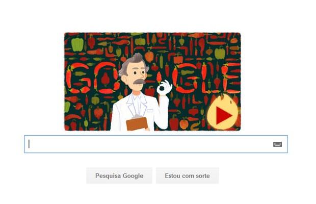 Wilbur Scoville, farmacêutico norte-americano que testou pimentas, é homenageado pelo doodle do Google. (Foto: Reprodução/Google)