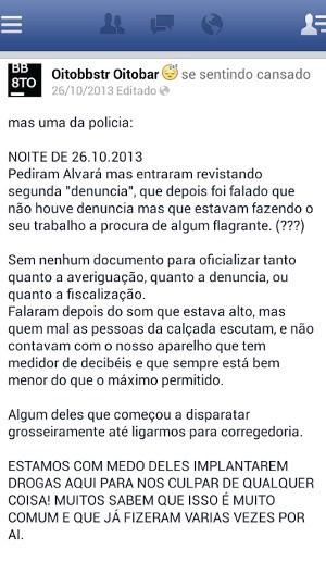 Proprietários de bar relatam, em postagem de 2013, que sofriam perseguição policial (Foto: Reprodução / Facebook)