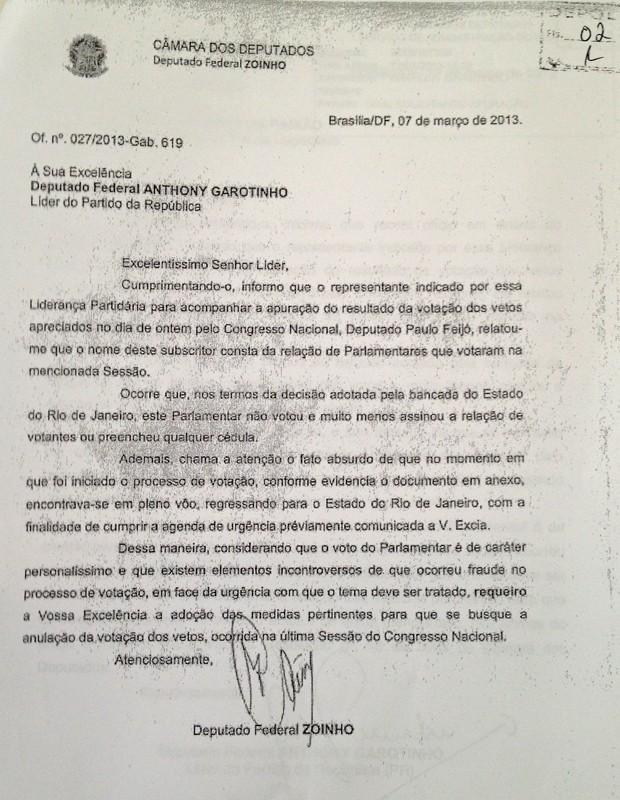 Ofício de março do deputado Zoinho ao líder da bancada do PR, deputado Anthony Garotinho, informando sobre a ausência na sessão de votação dos vetos à Lei dos Royalties (Foto: Reprodução / TV Globo)