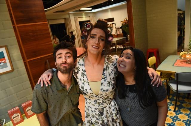 Rodrigo Pandolfo, Paulo Gustavo e Mariana Xavier nas filmagens de 'Minha mãe é uma peça' 2 (Foto: Páprica Fotografia)