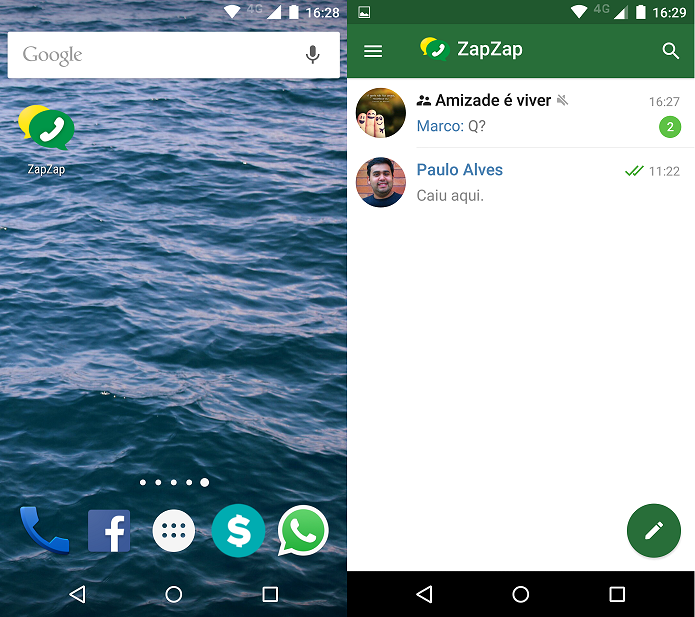 Abrindo o ZapZap Messenger (Foto: Felipe Alencar/TechTudo)
