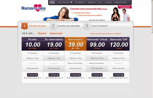 Namoro Fake, criado em janeiro de 2013, já tem 12 mil clientes (Foto: Reprodução/ Internet)