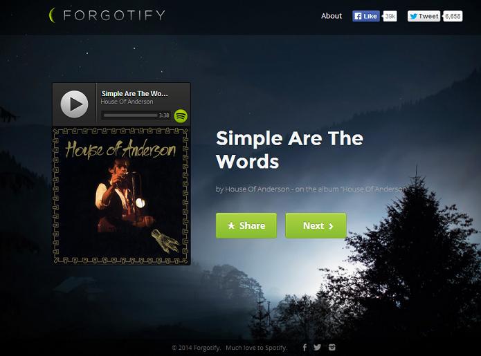 950ad499fa6 Forgotify reproduz músicas que nunca foram tocadas no Spotify (Foto   Reprodução Forgotify)