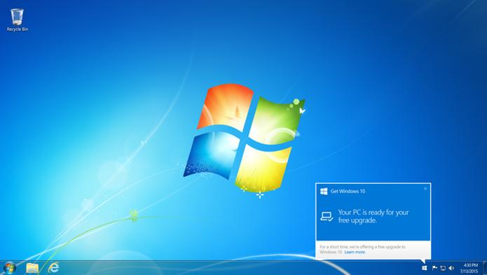 Máquinas com Windows 7, 8 ou 8.1 originais receberão notificação quando a cópia do Windows 10 estiver disponível (Foto: Divulgação) (Foto: Máquinas com Windows 7, 8 ou 8.1 originais receberão notificação quando a cópia do Windows 10 estiver disponível (Foto: Divulgação))