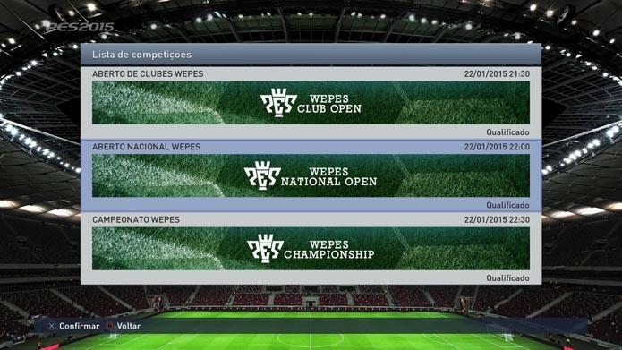 Escolha um dos campeonatos (Foto: Reprodução/Murilo Molina)