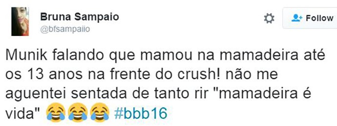 post munik mamadeira bbb16 (Foto: web)