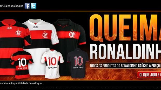 Produtos de Ronaldinho na loja do Fla (Foto: site oficial do Fla)