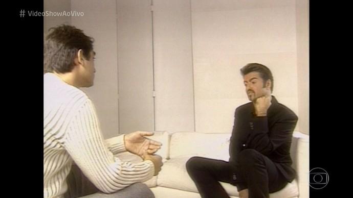 Zeca Camargo entrevistou George Michael em 1988 (Foto: Rede Globo)