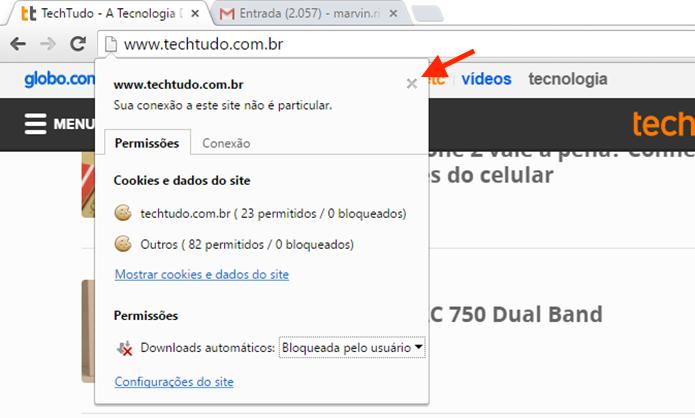 Fechando a tela de informações da página para salvar a configuração de downloads automáticos do Google Chrome (Foto: Reprodução/Marvin Costa)
