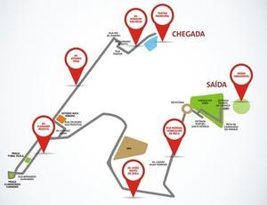 Trajeto da Tocha Olímpica em Uberlândia (Foto: PMU/Divulgação)