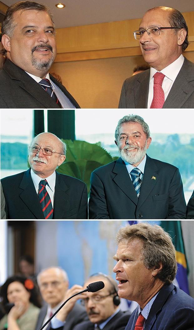 """AS TRÊS TENDÊNCIAS DO PSDB Marina terá de lidar com a ala """"tucana"""", de Márcio França,  vice de Geraldo Alckmin  (acima); a ala petista, de  Roberto Amaral, amigo de Lula  (ao centro); e os """"verdes"""",  como Alfredo Sirkis (à esq.),  que se recusa a apoiar o (Foto: Anessa Carvalho/News Free/Estadão Conteúdo, Gustavo Miranda/Agência O Globo e Agência Câmara)"""