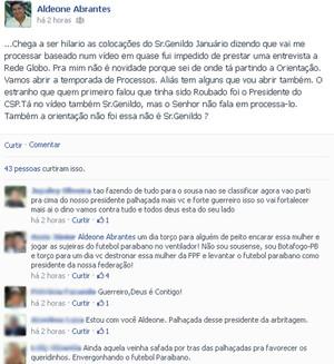 Aldeone Abrantes rebate declarações do presidente do Sindicato de Árbitros da Paraíba (Foto: Reprodução / Facebook)