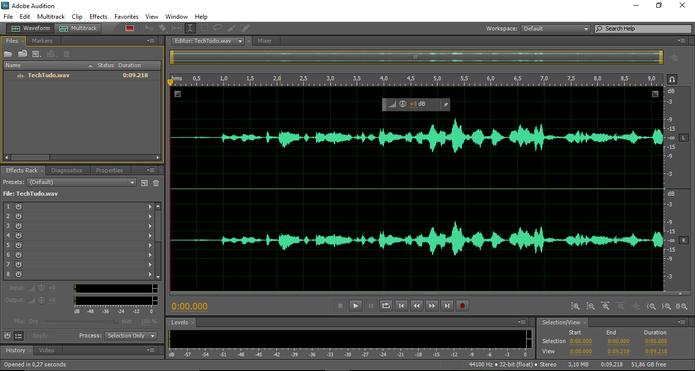 As ondas sonoras mostram visualmente o formato do arquivo de áudio. (Foto: Reprodução / Gabriel Galli)