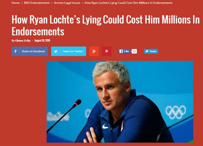"""O site Black Sports Online diz que o nadador envergonhou os Estados Unidos após contar versões contraditórias do suposto roubo. Afirma que o atleta, quatro vezes campeão olímpico, teria tudo para ter um futuro de sucesso no esporte. Mas, agora, """"ninguém sabe qual será seu legado""""."""