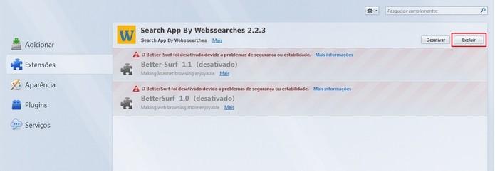Destaque para botão de excluir extensão do Wubssearches (Foto: Reprodução/Raquel Freire)