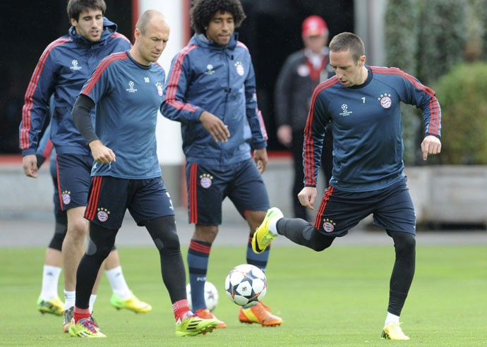 Javi Martinez, Robben, Dante e Ribery, treino Bayern de Munique (Foto: EFE)