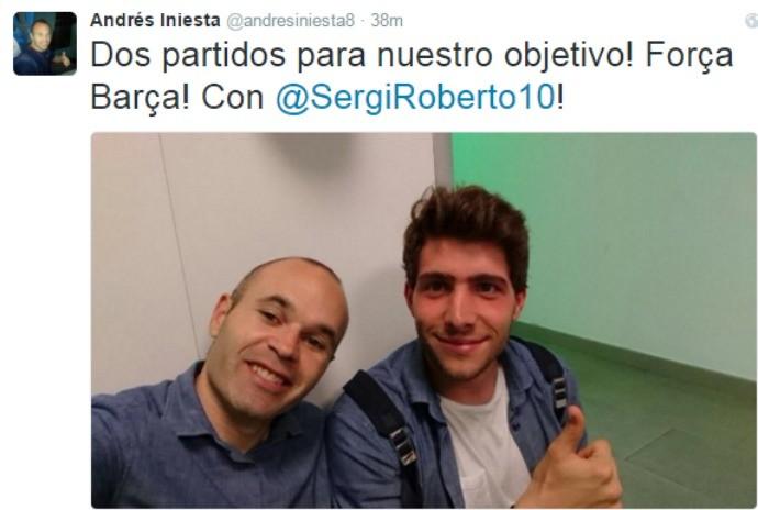 """BLOG: Iniesta comemora vitória do Barcelona: """"Duas partidas para nosso objetivo"""""""