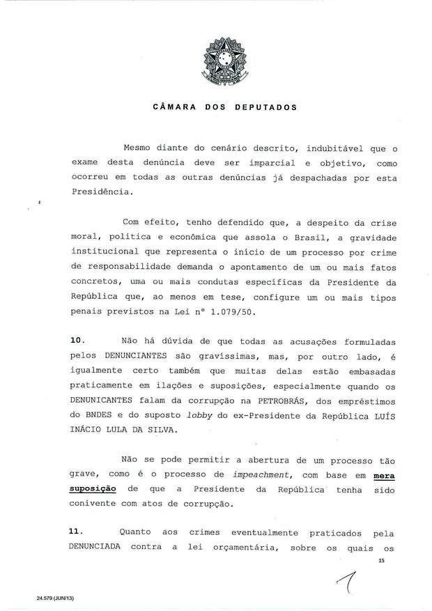 15 - Leia íntegra da decisão de Cunha que abriu processo de impeachment (Foto: Reprodução)