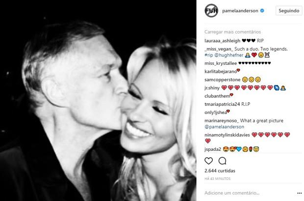 Pamela Anderson lamenta morte de Hugh Hefner (Foto: Reprodução/Instagram)