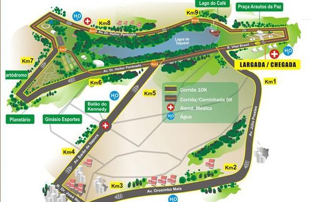 Mapa do percurso da Corrida Integração em Campinas, SP (Foto: Divulgação EPTV)