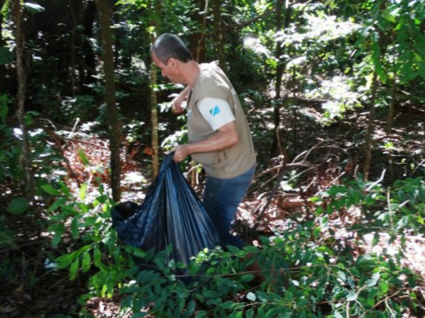 Equipe percorre mata do parque para recolher materiais como sacola plástica, copos e garrafas (Foto: Divulgação/ Imasul)