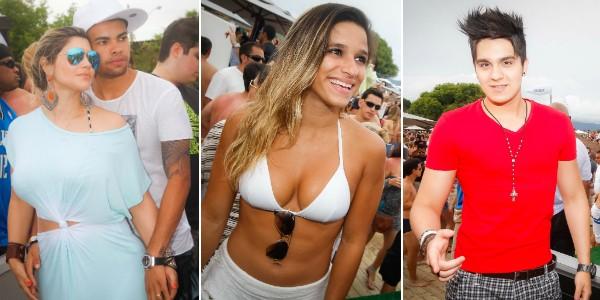 Dani Souza, Dentinho, Jade Barbosa e Luan Santana estiveram em Jurerê Internacional (Foto: David Collaço/Divulgação)