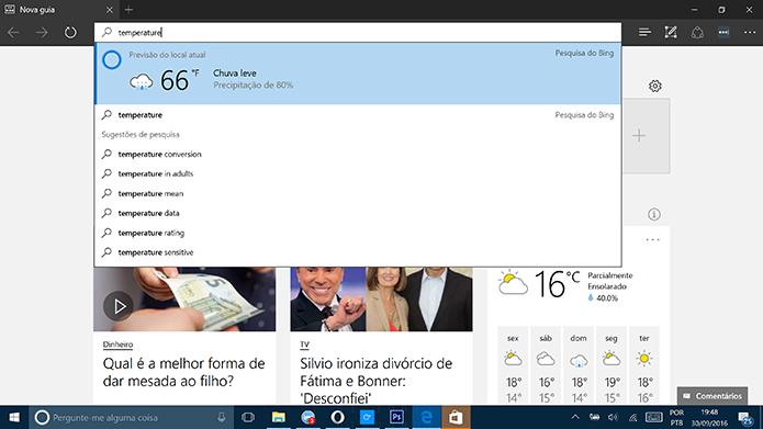 Cortana pode mostrar temperatura diretamente da barra de endereços do Microsoft Edge (Foto: Reprodução/Elson de Souza)