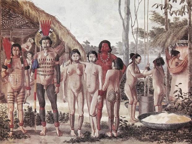 Exposição retrata obra de pintor francês sobre os povos indígenas no Brasil (Foto: Reprodução da tela 'Apiacás' de Hercule Florence)
