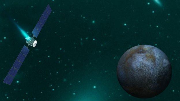 Ilustração mostra a aproximação da missão Dawn do planeta-anão Ceres (Foto: BBC)