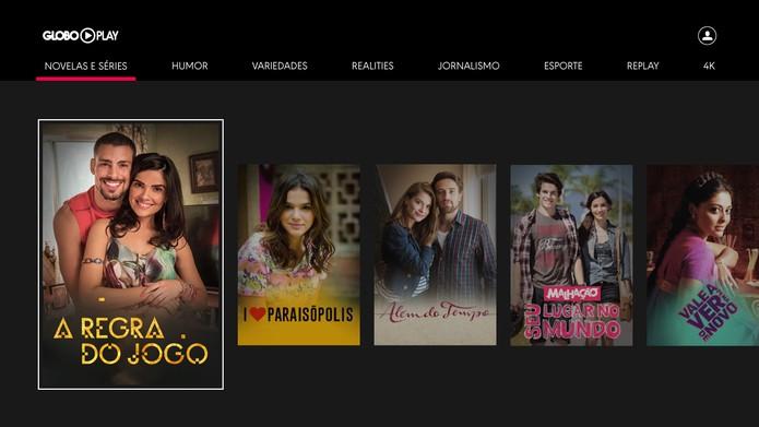 Globo Play: visual de app para smart TV foi pensado para interação via controle remoto (Foto: Divulgação/Samsung)