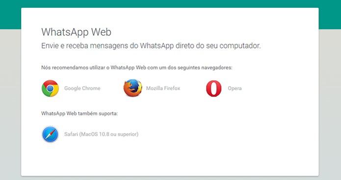 Os navegadores suportados pelo WhatsApp Web (Foto: Reprodução/Barbara Mannara)