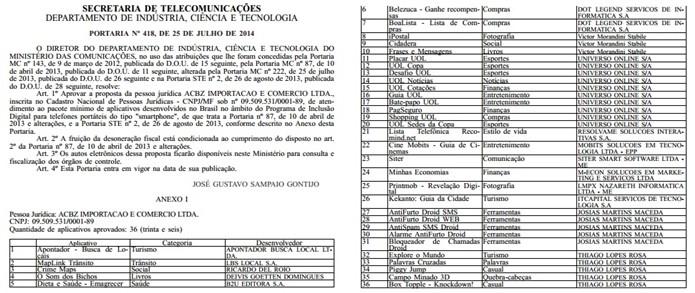 Portaria do Ministério das Comunicações autorizando a Asus a desenvolver apps para chegada do Zenfone 5 no Brasil (Foto: Reprodução/DOU)
