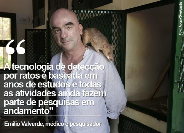 Frase - Emilio Valverde, médico e coordenador do projeto de detecção de tuberculose por ratos (Foto: Apopo/Divulgação)