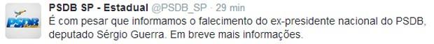 PSDB-SP informou pelo Twitter a morte do ex-presidente do partido Sérgio Guerra (Foto: Reprodução / Twitter)
