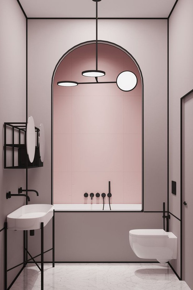 Décor do dia: banheiro geométrico em rosa e preto (Foto: reprodução)