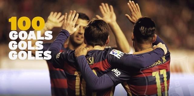 Trio MSN 100 gols (Foto: Divulgação / Barcelona)