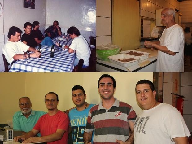 Montagem com o antigo restaurante, senhor Hamed e a família que toma trabalha no restaurante (Foto: Ivanete Damasceno/G1)