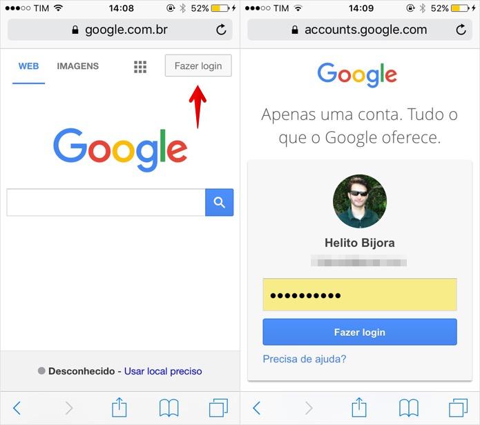 Faça login em sua conta Google (Foto: Reprodução/Helito Bijora)