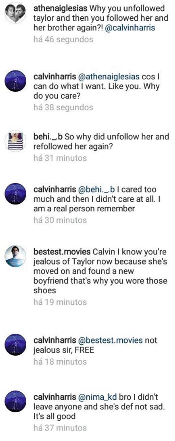 Calvin Harris responde provocaes de seguidores nas redes sociais (Foto: Reproduo/Instagram)