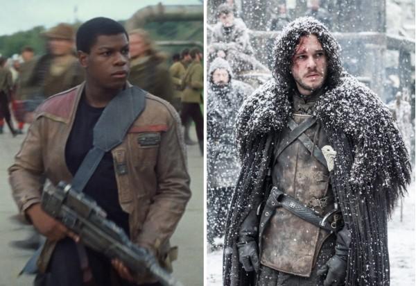 O ator John Boyega como Finn em Stwar Wars e o ator Kit Harington como Jon Snow em Game of Thrones (Foto: Reprodução)