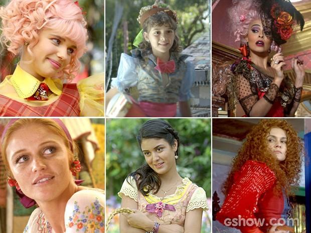 Juliana, Pituquinha, Catarina, Milita, Rosinha e Gina. (Foto: Meu Pedacinho de Chão/TV Globo)
